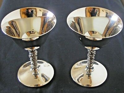 Superb Vintage Pair Falstaff Silver Plated Champagne Toasting Wine Cups Chalices