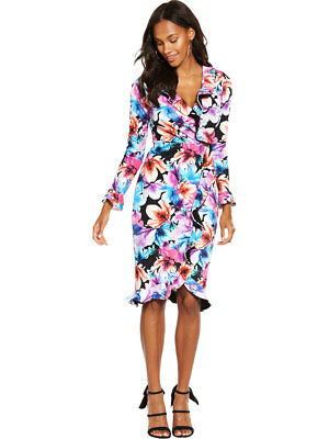 V By Very Frill Wrap Dress In Print Size 8