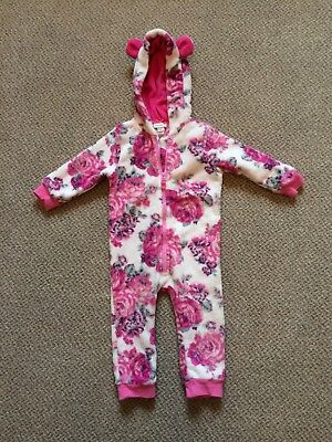 Monsoon Girls Floral Fleece Snowsuit 12-18 months Used but good condition