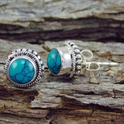 Ancient Style 925 Sterling Silver Blue Sapphire Stud Earrings Vintage Jewelry