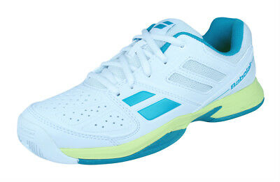 Babolat Pulsion All Court Junior Kids Tennis Trainers Shoes - White Blue