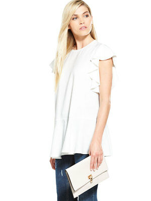 V by Very Drop Hem Frill Tunic in Ivory Size 8