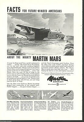 1944 MARTIN AIRCRAFT advertisement, Martin Mars transport flying boat