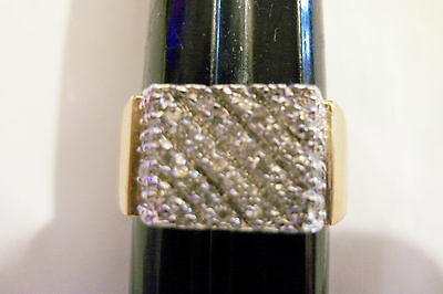 bling gold plated rectangle iced out cubic cluster ring hip hop jewelry gp sz 12