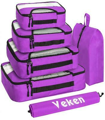 Veken 6 Set Packing Cubes, Travel Luggage Organizers with Laundry Bag Purple