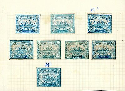 Canal Maritime   20c Blue Shades  'Genuine'  (8)  Scarce Items    (D1435)