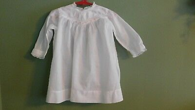 Vintage Child's Infants White Cotton Gown Dress Pink Embroidered Flowers