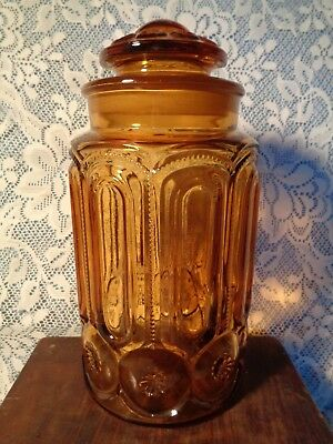 LARGE Antique AMBER Pattern Glass JAR CANNISTER ground fit LID APOTHECARY store