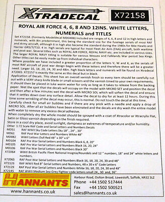 Xtradecal 1/72 X72158 RAF, Royal Navy + Army White Letters, Numerals and Titles