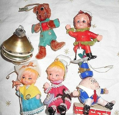 Lot of 6 Vintage Plastic Glass Ornaments 1 Shiny Brite MIJ Humpty Dumpty GUCond