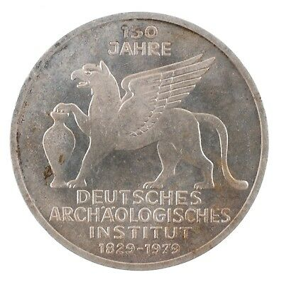 1979 J Germany 5 Duetsche Mark German Archaeological Institute Silver Coin