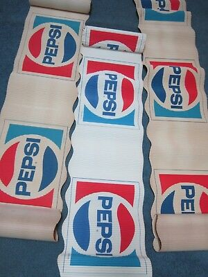 PEPSI COLA 3 ROLLS PAPER CORRUGATED 23 FEET TOTAL 1980's ADVERTISEMENT SIGN AD