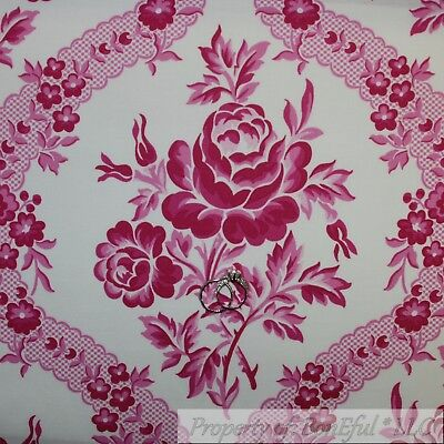 BonEful Fabric Cotton Quilt White Pink Rose Flower Damask French Country 1 SCRAP