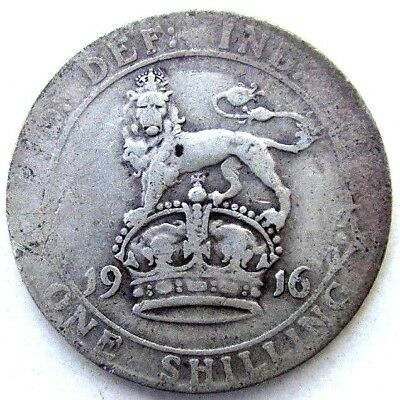 Great Britain Uk Coins, One Shilling 1916, George V, Silver 0.925 _