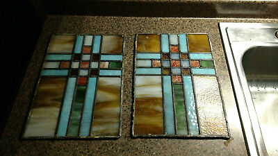 2 Vintage Stained Glass Window Panel Church Door Cross Antique Leaded 9.75X14""