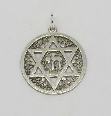 925 Sterling Silver Star Of David Cricle Pendant