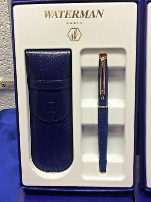 Waterman Hemisphere Blue Marble  & Gold Rollerball  Pen &  Leather Pouch  New