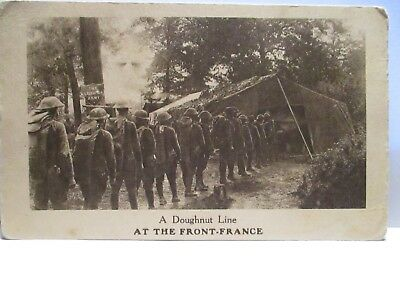 """Wwi Photo Postcard """" A Doughnut Line At The Front- France """" U.s. Soldiers Unused"""