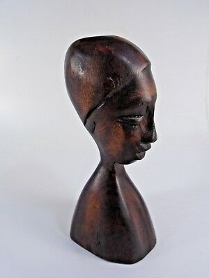 Hand Carved Wood Tribal African Bust Sculpture Statue Figure
