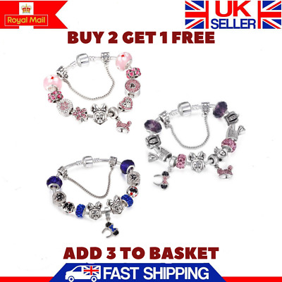 Womens 925 Sterling Silver Clasp Charm Bracelet Pink Purple Mickey Mouse Charms