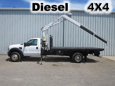 F550 Diesel 4X4 4 Wheel Drive 14Ft Flatbed Knuckle Boom Lift Arm Crane Truck
