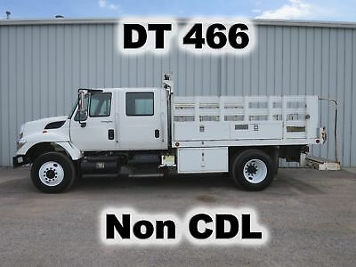 7600 Dt466 4 Door Crew Cab 12Ft Service Flat Body Stake Bed  Truck Non-Cdl