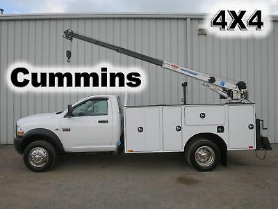 Ram 5500 Cummins 4X4 4 Wheel Drive 11Ft Utility Service Crane Mechanics Truck