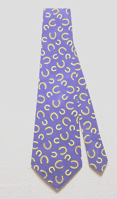 Lucky Horseshoes Classic Men's Tie 100% Cotton Western Blue/Yellow PGD