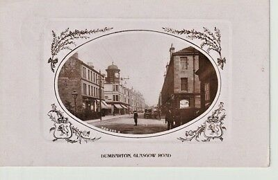 RP 1909 DUMBARTON Glasgow Road - shops, clock tower, people