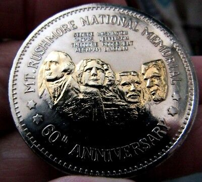 1925-1985 Mt Rushmore 60Th Anniversary  Proof Medal Silvered & Gilded