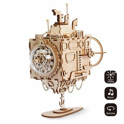 Steampunk Submarine Music Box 3D Wood Puzzle