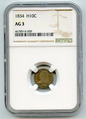 1834 Capped Bust Silver Half Dime (AG 3) NGC Certified.