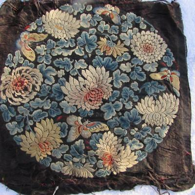 EXQUISITE ANTIQUE C19th CHINESE HAND EMBROIDERED SILK ROUNDEL PANEL