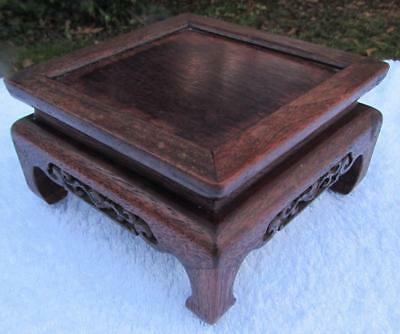 Fine Antique / Vintage Chinese Carved Hardwood Stand for Bowl / Vase