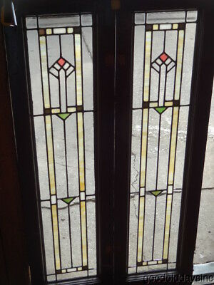 "Pair of Antique Stained & Clear Leaded Glass Doors / Windows 48"" x 13"""