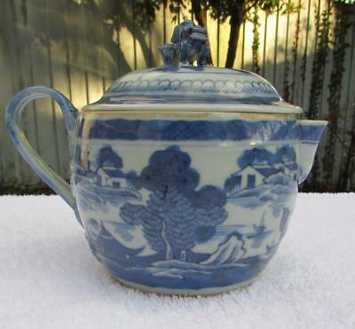 Fine Antique 19thC Canton Porcelain Cider Jug - Blue & White