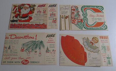 1950's Post cereal premium lot of 4 different Christmas decorations