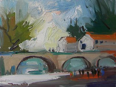 JOSE TRUJILLO Impressionism Oil Painting Bridge Houses Buildings Modern Abstract