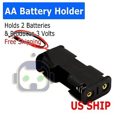 "Battery Holder Case Box with 3"" Wire Leads for 2X Series AA Batteries 3V US"