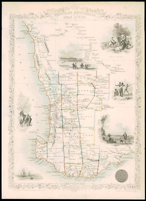 "1850 Original Antique Map of ""WESTERN AUSTRALIA"" SWAN RIVER  by Tallis  (41d)"