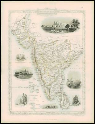 """1850 """"SOUTHERN INDIA"""" Antique Map by Tallis with Vignette engravings CEYLON"""