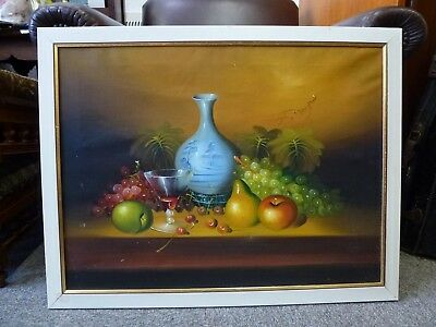 Original Large Oil Painting Fruit Still life 1950 1960 1970 retro vintage old