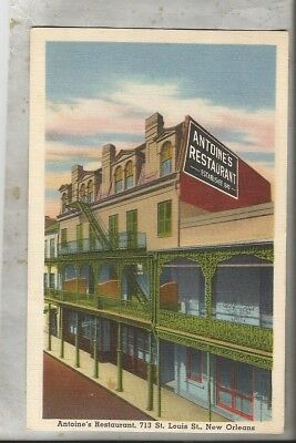 1955 linen postcard NEW ORLEANS LA French Quarter Antoine's restaurant