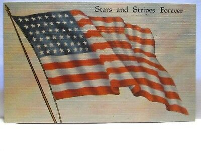 "Wwii Patriotic Postcard "" Stars And Stripes Forever "" Us Flag "" Our Flag "" Poem"