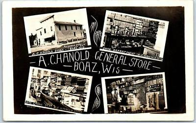 """BOAZ, Wisconsin RPPC Real Photo Postcard """"CHANOLD GENERAL STORE"""" 4 Views c1910s"""