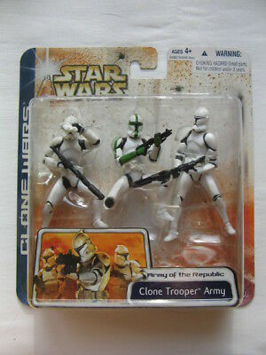 Star Wars CW - 3pack *** Clone Trooper Army Green Variation *** Selten ***