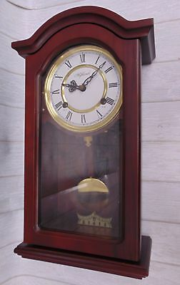 Small Vintage Style HIGHLANDS WALL CLOCK Pendulum Chimes Wind-Up With Key - W14