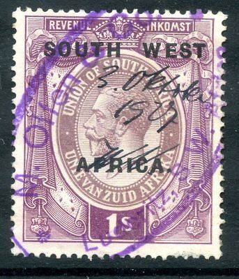 SOUTH WEST AFRICA SWA 1923 1/- SOUTH WEST 22mm WIDE TYPE C/D REVENUE FISCAL TAX