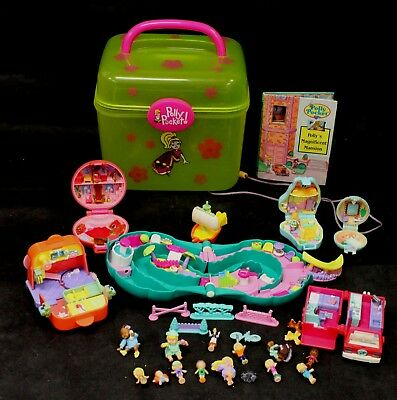 Vintage Bundle of POLLY POCKET Items With Box/Case Collection 1990s Era - C15