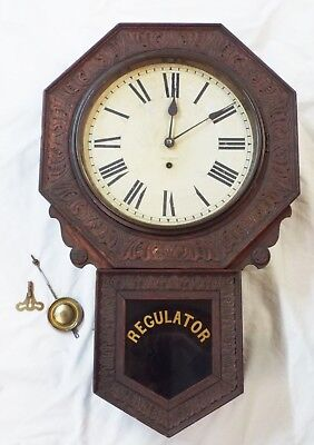 Old Antique NEW HAVEN Dark Pressed Oak REGULATOR SCHOOLHOUSE WALL CLOCK -Runs-
